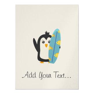 Surfboard Penguin 17 Cm X 22 Cm Invitation Card