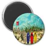 surfboard surf art red yellow and blue artwork refrigerator magnet