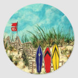 surfboard surf art red yellow and blue artwork stickers