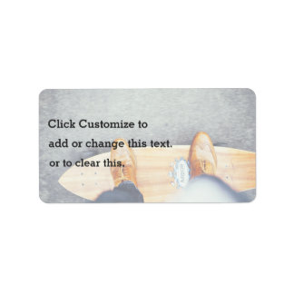 Surfboard Themed, A Man Wearing Brown Shoes And Bl Address Label