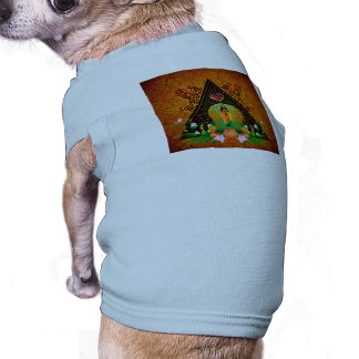 Surfboard with flowers and floral elements sleeveless dog shirt