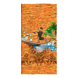 Surfboarder, tropical design with surfboarder custom photo card