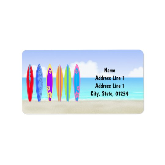 Surfboards Beach Address Labels