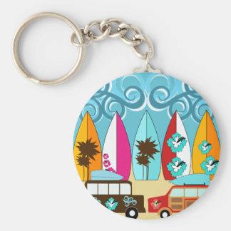 Surfboards Beach Bum Surfing Hippie Vans Basic Round Button Key Ring