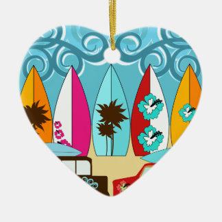 Surfboards Beach Bum Surfing Hippie Vans Ceramic Heart Decoration