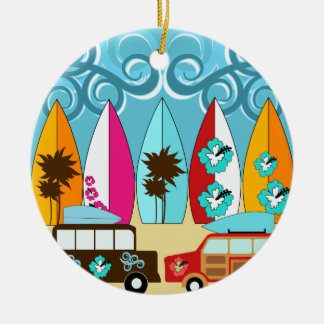 Surfboards Beach Bum Surfing Hippie Vans Christmas Ornament