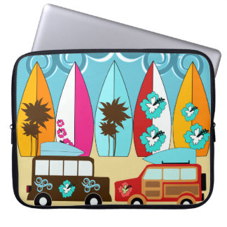 Surfboards Beach Bum Surfing Hippie Vans Laptop Sleeve
