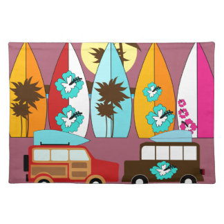 Surfboards Beach Bum Surfing Hippie Vans Placemat