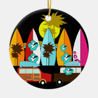 Surfboards Beach Bum Surfing Surfer Hippie Vans Christmas Ornament