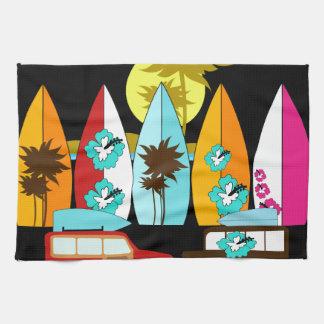 Surfboards Beach Bum Surfing Surfer Hippie Vans Tea Towel