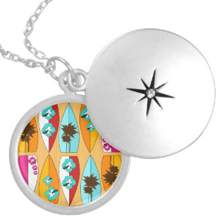 Surfboards on the Boardwalk Summer Beach Theme Locket Necklace