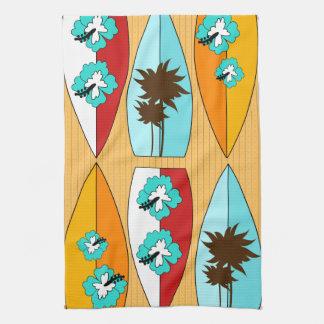 Surfboards on the Boardwalk Summer Beach Theme Tea Towel