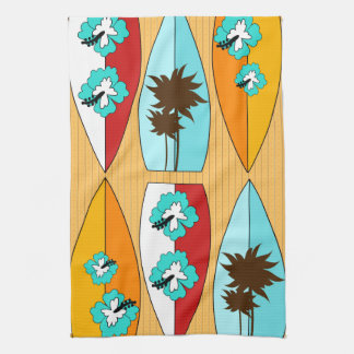 Surfboards on the Boardwalk Summer Beach Theme Towels