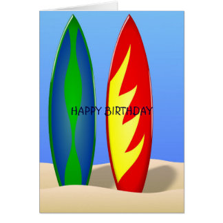 Surfboards retro surf Birthday Card