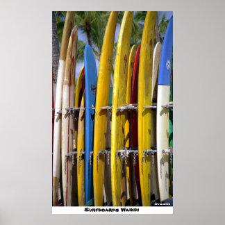 Surfboards Waikiki Poster