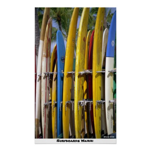 Surfboards Waikiki Posters