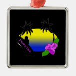 Surfer and Flowers Christmas Tree Ornaments