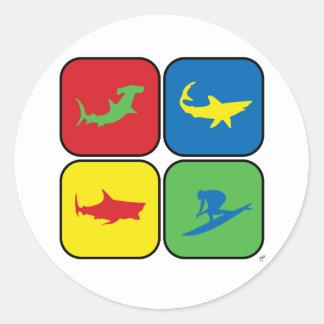 Surfer and Sharks Pop Art Round Sticker