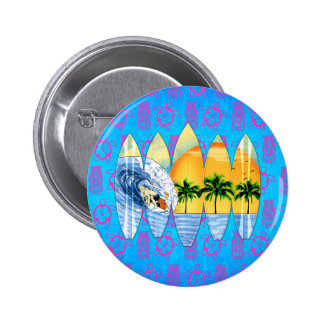 Surfer And Surfboards 6 Cm Round Badge