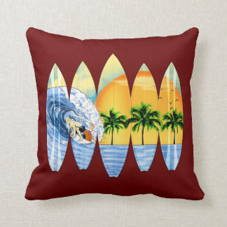 Surfer And Surfboards Cushions