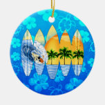 Surfer And Surfboards Double-Sided Ceramic Round Christmas Ornament