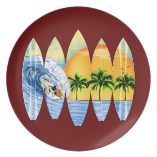 Surfer And Surfboards Dinner Plates
