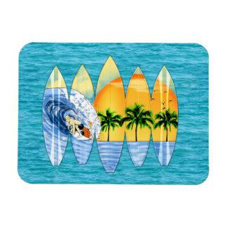 Surfer And Surfboards Rectangular Magnet