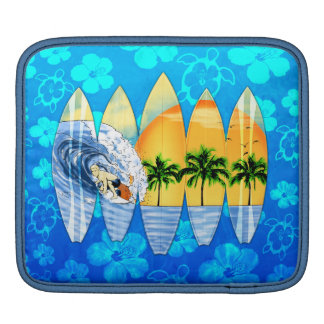 Surfer And Surfboards iPad Sleeve