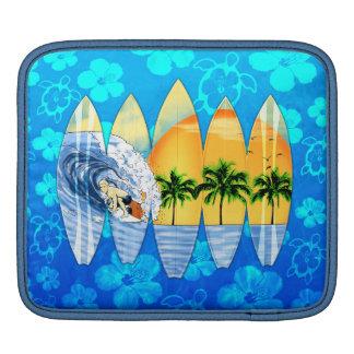 Surfer And Surfboards iPad Sleeve