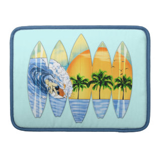 Surfer And Surfboards Sleeves For MacBooks