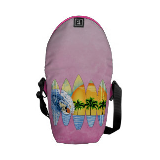 Surfer And Surfboards Messenger Bags