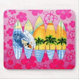 Surfer And Surfboards Mouse Pad