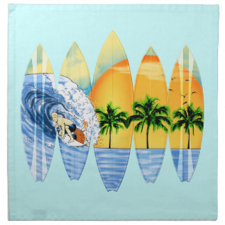 Surfer And Surfboards Printed Napkin