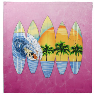 Surfer And Surfboards Printed Napkins