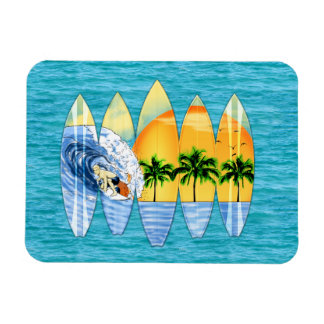 Surfer And Surfboards Rectangular Photo Magnet