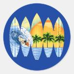Surfer And Surfboards Round Sticker