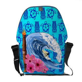 Surfer And Tiki Statue Messenger Bag