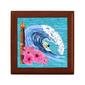 Surfer And Tiki Statue Small Square Gift Box