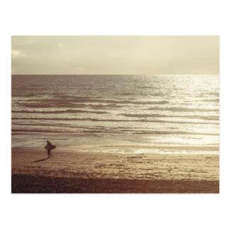 Surfer at Fistral Beach Cornwall Postcard