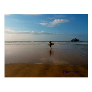 Surfer at Perranporth Beach Cornwall England Postcard
