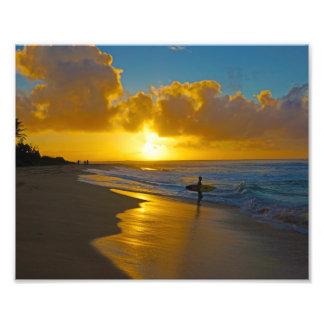 Surfer At Sunrise Photo Print