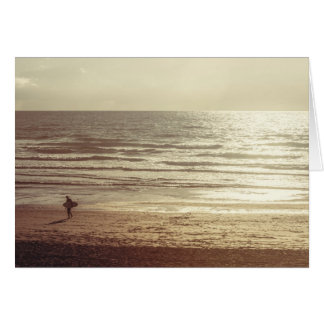Surfer at sunset, Newquay, Cornwall Greeting Card