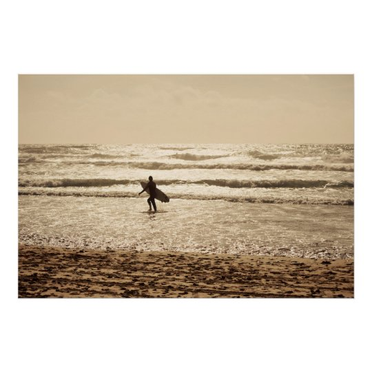 Surfer at Sunset on Fistral Beach, Newquay Poster