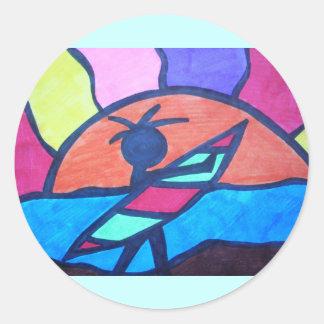 Surfer Beach Sunset Classic Round Sticker