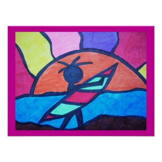 Surfer Beach Sunset Poster