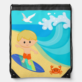 Surfer boy drawstring bag