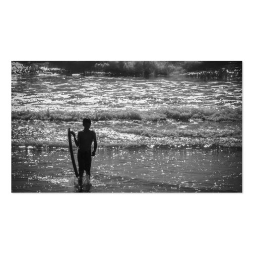 Surfer Boy Silhouette ( black and white) Business Card Template