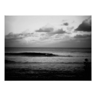 Surfer Catching a Wave in the Morning B&W Poster