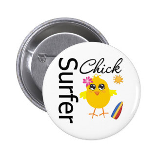 Surfer Chick Pinback Buttons