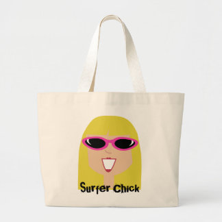Surfer Chick Blonde Girl With Sunglasses Bag
